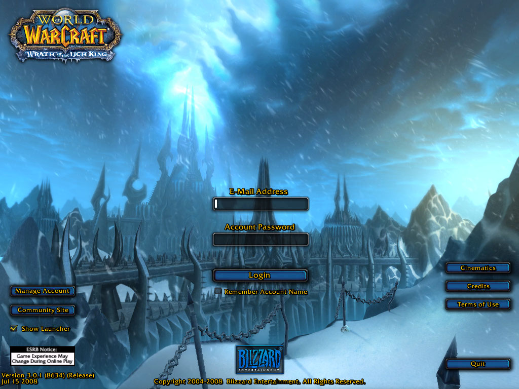 World of Warcraft login screen