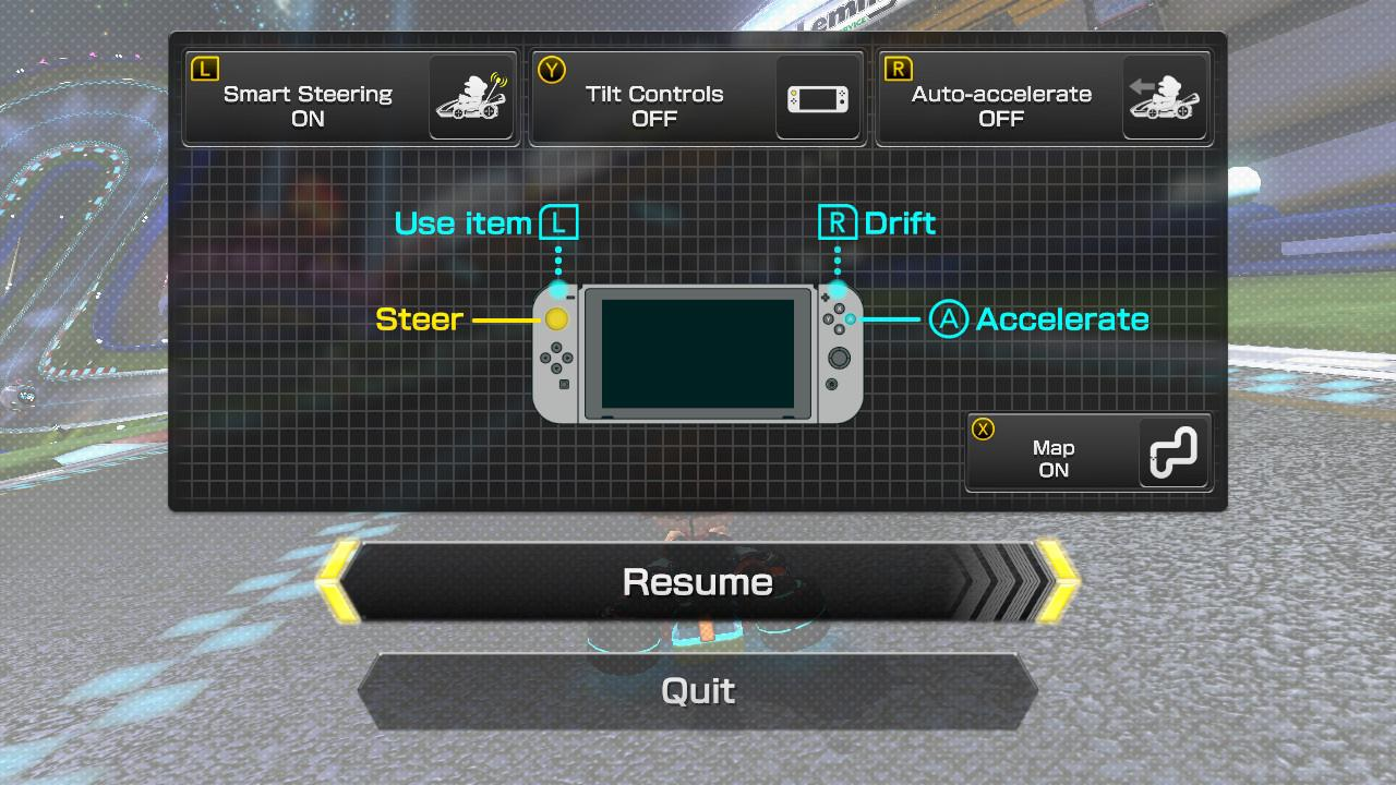 Mario Kart 8 race settings screen