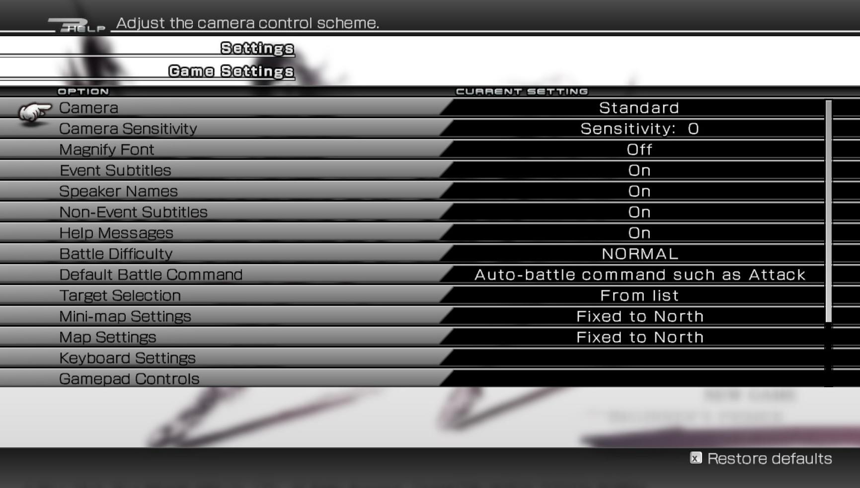 Final Fantasy XIII-2  settings screen