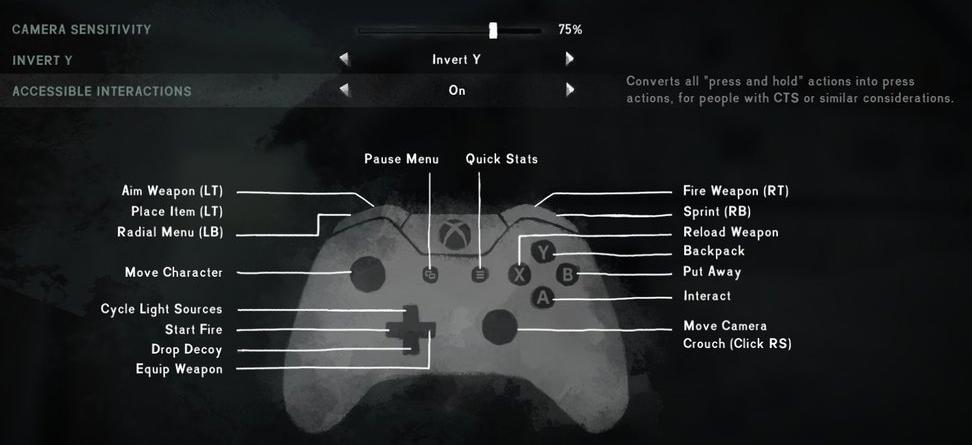 The Long Dark control settings screen