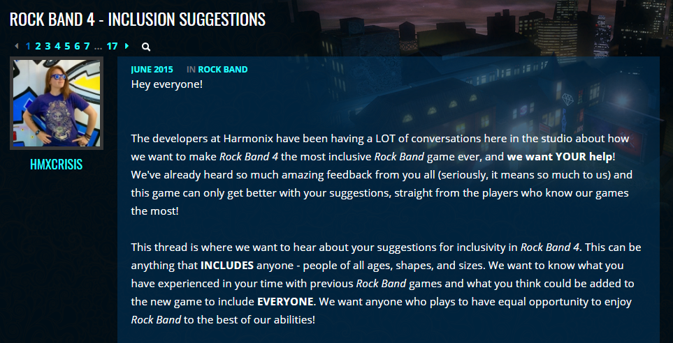 Rockband post on Harmonix forums