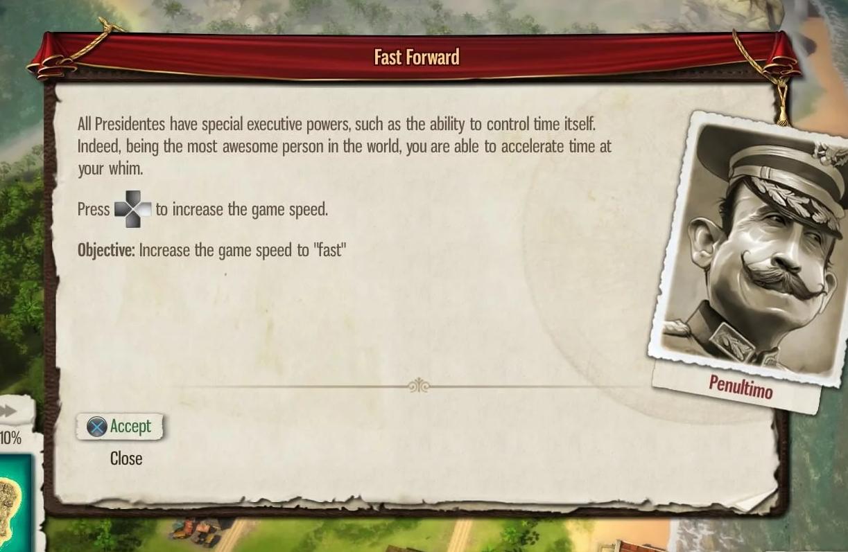 Tropico speed tutorial screen